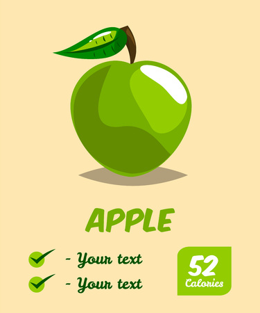 Apple. Calories and useful properties. Natural fruit. Poster Print on healthy eating. Vector illustration. Flat style