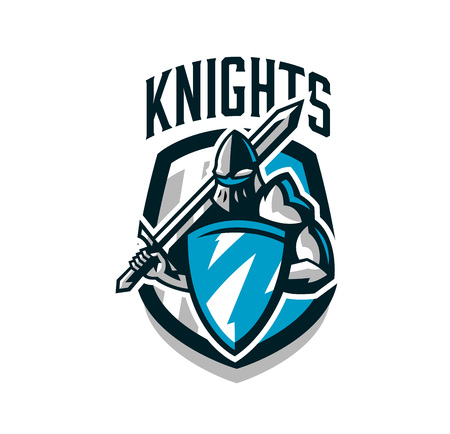 Colorful logo, sticker, emblem of the knight in iron armor. Knight of the Middle Ages, shield, warrior, swordsman, crusader, defender of the fortress.The mascot of the sports club.Vector illustration  イラスト・ベクター素材