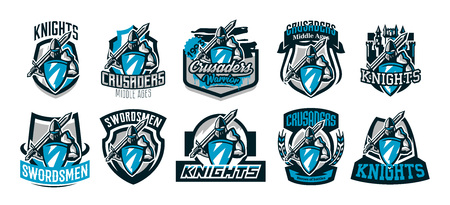 A set of colorful logos, emblems of a knight in iron armor. Knight of the Middle Ages, shield, warrior, swordsman, crusader, defender of the fortress.The mascot of the sports club.Vector illustration