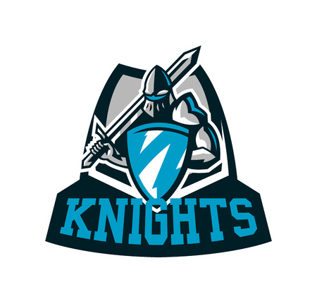 Colorful logo, knight s emblem in iron armor. A warrior of the Middle Ages, a knight holds a shield and a sword, swordsman, warrior, defender, lettering. Vector illustration