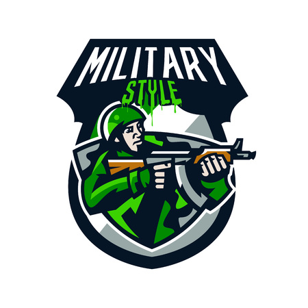 Colorful logo, badge, emblem of a soldier shooting from a submachine gun. Soldier in uniform, helmet, machine gun, military, weapon, camouflage, mascot, shield. Sports identity, vector illustration
