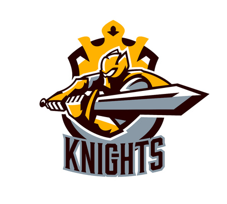 A colorful logo, a sticker, an emblem, a knight is attacking with a sword. Gold armor of the knight, paladin, swordsman, warrior, crown, shield, lettering. Mascot sports club, vector illustration