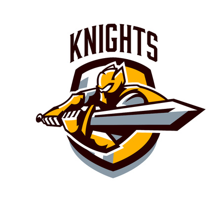 A colorful logo, a sticker, an emblem, a knight is attacking with a sword. Gold armor of the knight, paladin, swordsman, warrior, shield, lettering. Mascot sports club, vector illustration