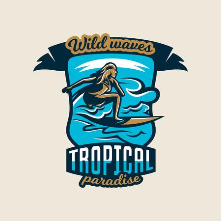 Buntes Logo, Emblem, Aufkleber, Surfermädchen treibt auf den Wellen, Vektorillustration.