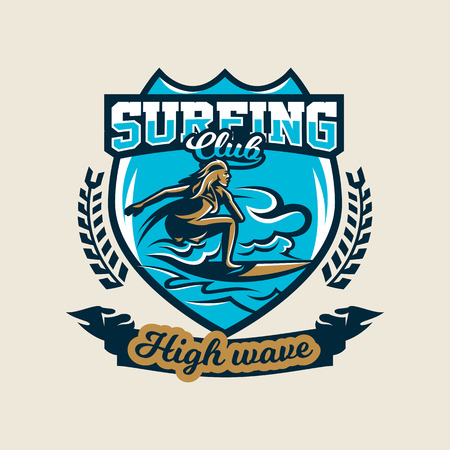 Colorful logo, emblem, sticker, surfer girl is drifting on the waves, vector illustration.