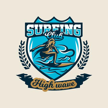 Colorful logo, emblem, sticker, surfer girl is drifting on the waves, vector illustration.