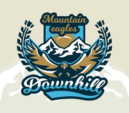 Emblem of an eagle flying icon image