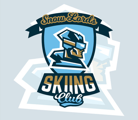 Skiing icon illustration