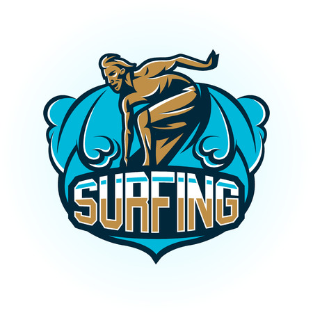 Male surfer illustration Vectores
