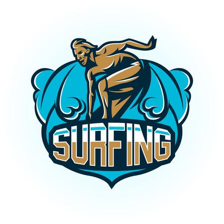 Male surfer illustration Stock Illustratie