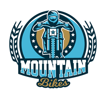 Icon emblem of the rider riding a mountain bike. Downhill, free ride, extreme sport. Vector illustration.