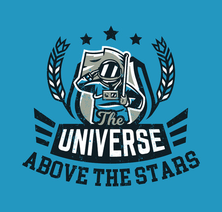 Design for printing on a t-shirt, an astronaut saluting and holding a flag. Space, galaxy, universe, cosmonauts ammunition. Vector illustration, grunge effect.