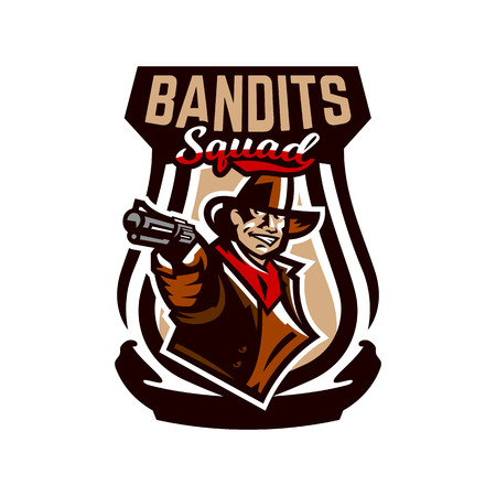 Colorful emblem, icon, cowboy holding a revolver. Wild West, a bandit, a robber, a sheriff, a gunfight. Vector illustration.