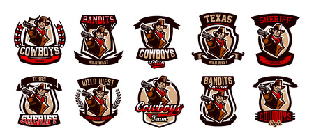 A set of colorful emblems, icon, cowboy with a revolver. Wild West, a bandit, a robber, a sheriff, a gunfight. Vector illustration. Stok Fotoğraf - 97767649