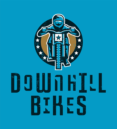 Design for printing on a T-shirt, cyclist riding a mountain bike. Downhill, freeride, extreme sport. Vector illustration, grunge effect Illustration