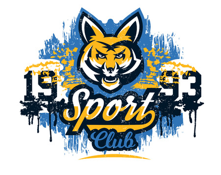 Design for printing on a T-shirt, isolated on a white background, aggressive American fox, forest predator. Sports identity, club logo, lettering, text. Vector illustration, grunge effect