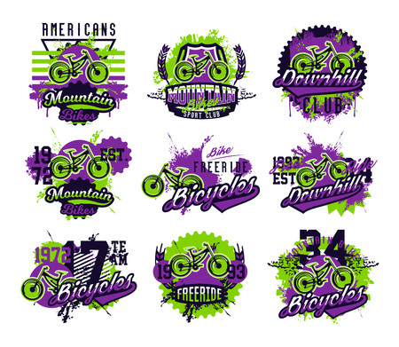 Collection of vector illustration on the theme of mountain biking, extreme sports, downhill, freeride. Grunge effect, text, lettering. Typography, T-shirt graphics, print, banner, poster.