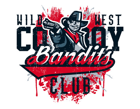 Vector illustration on a theme of the wild west, cowboy shooting from a revolver, bandit, criminal. Grunge effect, text, inscription. Typography, T-shirt graphics, print, banner, poster, flyer
