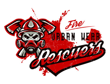 Vector illustration on the theme of rescuers, fire department, a skull in a fireman s helmet, axes. Grunge effect, text, inscription. Typography, T-shirt graphics, print, banner, poster, flyer Illustration