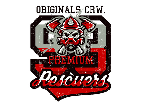 Vector illustration on the theme of rescuers, fire department, a skull in a firemans helmet, axes. Grunge effect, text, inscription. Typography, T-shirt graphics, print, banner, poster, flyer