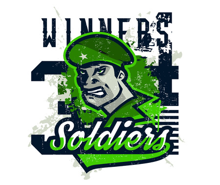 Vector illustration on a military theme, soldier in a beret, national defender.