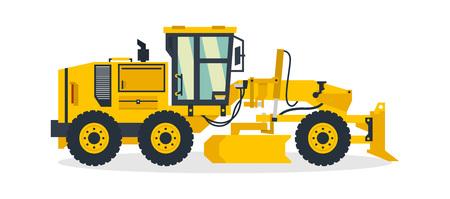 Niveleuse, véhicules utilitaires, engins de chantier. Illustration vectorielle