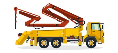 Betonpumpe, Nutzfahrzeuge, Baumaschinen. Betonpumpenwagen, der auf Baustellen arbeitet. Vektor-Illustration