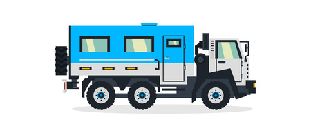 Truck for transporting people, commercial vehicles. Vector illustration