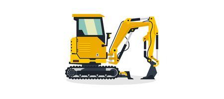 Mini excavator, commercial vehicles, construction equipment. Small construction excavator. Vector illustration