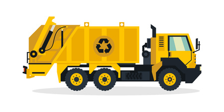 Garbage truck, commercial vehicles, service equipment. Truck with a large trash can. Vector illustration Illustration