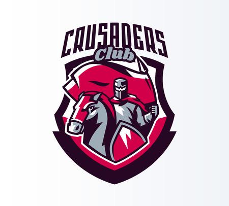 Emblem, logo, sticker, knight with flag on horseback. Crusader, swordsman, warrior, armor, banner, stallion. Shield, lettering, print. Vector illustration Illustration