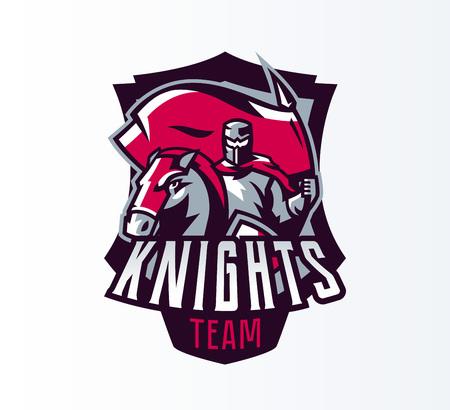 Emblem, logo, sticker, knight with flag on horseback. Crusader, swordsman, warrior, armor, banner, stallion. Shield, lettering, print. Vector illustration