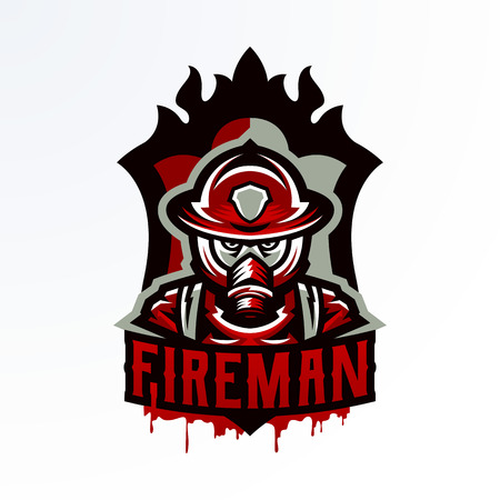 Colorful emblem, sticker, badge, logotype of a firefighter in a gas mask. Rescue unit, protective equipment, uniform, fire, service, shield, lettering. Vector illustration, printing on T-shirts