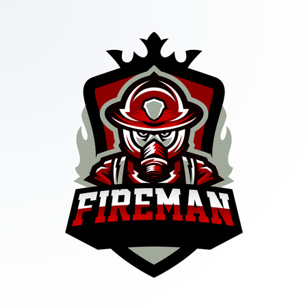 Colorful emblem, sticker, badge, logotype of a firefighter in a gas mask. Rescue unit, protective equipment, uniform, fire, service, shield, lettering. Vector illustration, printing on T-shirts Logos