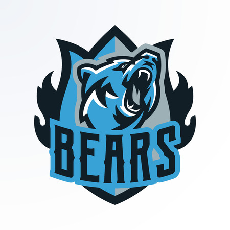 Emblema colorato, distintivo, ceppo di un orso che ringhia. Predatore pericoloso, un animale della foresta, stampa su magliette. Scudo, scritte, illustrazione vettoriale