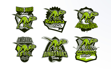 Un conjunto de emblemas, insignias, pegatinas, logotipos de caza de dinosaurios. Predator Jurassic, una bestia peligrosa, un animal extinto, una mascota. Letras, escudo, impresión. Ilustración vectorial