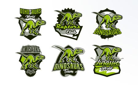 Un ensemble d'emblèmes, de badges, d'autocollants, de logos de chasse aux dinosaures. Predator Jurassic, une bête dangereuse, un animal éteint, une mascotte. Lettrage, bouclier, impression. Illustration vectorielle