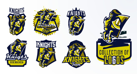 A set of logos, emblems, stickers, badges of a knight galloping on a horse. Warrior in iron armor, swordsman, crusader, hero, mascot, stallion, shield. T-shirt printing, vector illustration