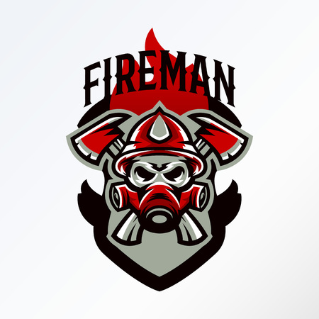Colorful badge, logo, sticker, emblem skull fireman in gas mask and axes. Protection, rescue squad, uniform, bones, tools, fire, shield, lettering. T-shirt printing, vector illustration Illustration