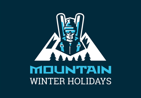 Logo for the ski resort. A skier in the background of mountains and forests. Nature, skiing, winter, holiday weekend. Vector illustration