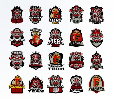 Una grande collezione colorata di emblemi, distintivi, adesivi, un logo sul tema dei vigili del fuoco. Vigile del fuoco in una maschera antigas, teschio, ossa, asce, strumenti, salvataggio, scudo, scritte, stampa Illustrazione vettoriale Logo