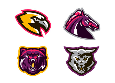Collection of animal logos. A wolf, a coyote, a bear, a grizzly, a hawk, an eagle, a horse, a stallion. Identity for sports club, mascots. Vector illustration.