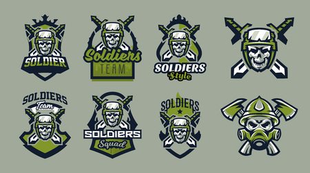 A set of emblems, badges, logos of a military skull, a helmet with tactical goggles and swords. Soldier, weapon, warrior, shield, lettering. Vector illustration