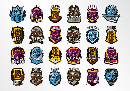 A large colorful collection of emblems, badges, stickers, logos of bears. Predator forest, wild animal, teeth, claws, grin, growl, lettering, shield, calligraphy, grunge, print. Vector illustration Illustration