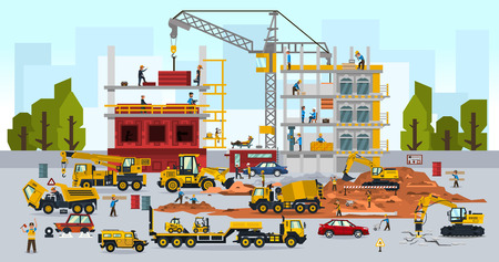 Construction site, the work of a large group of builders, building a house. A set of service vehicle, repair, cars, crane. Vector illustration, a flat style