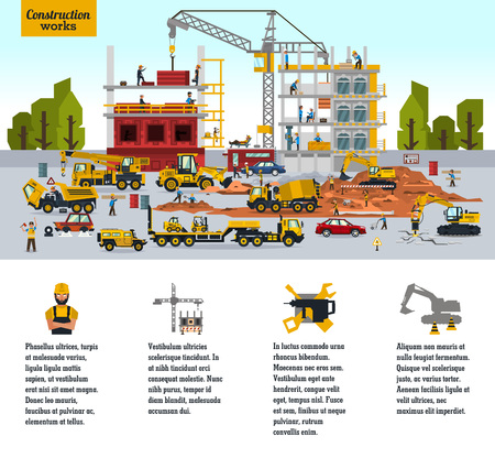 Construction site, the work of a large group of builders, building a house. A set of service vehicle, repair, cars, crane. Business, infographic, icons. Vector illustration, a flat style Ilustração