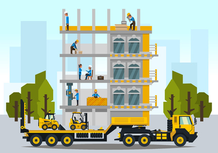 Construction site, the work of a large group of builders, building a house. A set of service vehicle, repair, cars. Vector illustration, a flat style. Çizim