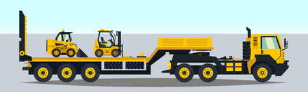 The truck carrying the trailer construction equipment. Loader, forklift, servicing transport. Vector illustration, a flat style
