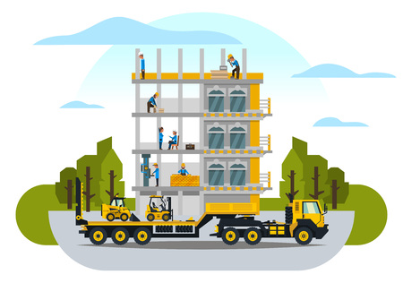 Construction site, the work of a large group of builders, building a house. A set of service vehicle, repair, cars. Vector illustration, a flat style. Ilustração
