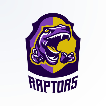Logo, badge, sticker, dinosaur emblem and its sharp teeth. Dangerous beast, predator of the Jurassic period, extinct animal, mascot, jaw and claws. Lettering, shield, print. Vector illustration